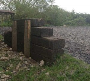 Mounting block on the arena.