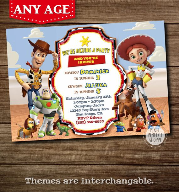 Toy Story Invitation Woody and Jessie por PixelPerfectShoppe Más