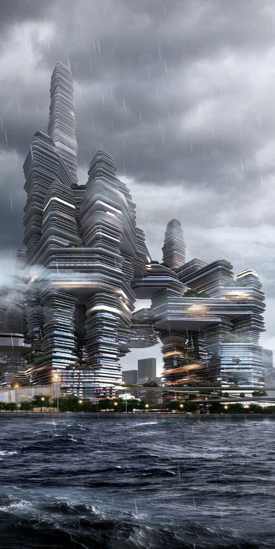 """Cloud Citizen"", Shenzhen Bay Super City Masterplan Competition Winner, Shenzhen, China by by Urban Future Organization and CR-Design [Future Architecture: http://futuristicnews.com/category/future-architecture/] More"