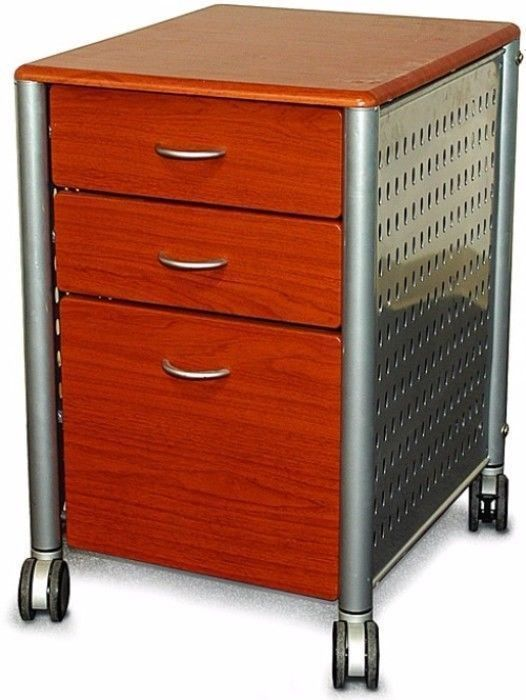 Details about Innovex Mobile Cherry Wood Three-Drawer Filing Cabinet Home Office  Furniture