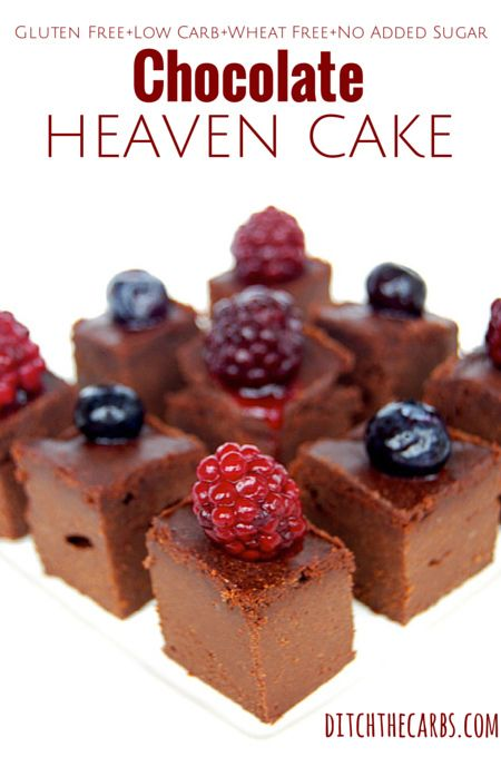 Chocolate Heaven Cake | Low carb, no added sugar, wheat free, gluten free, grain free. Beautiful for a gift, to share with friends or for after dinner. Slice it or cut into cubes for tasters. Serve with berries and cream. For more ideas and inspiration see the website recipe index. http://www.ditchthecarbs.com/2014/02/07/chocolate-heaven-cake-low-carb-wheat-free-sugar-less-nut-free-gluten-free/ #lowcarb #sugrafree #glutenfree #wheatfree #lchf #banting #realfood #wholefood #cleanfood