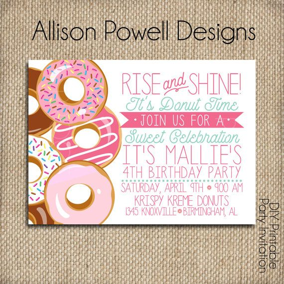 Donut, Doughnut, Breakfast, Pajama Birthday Party Invitation - Print your own