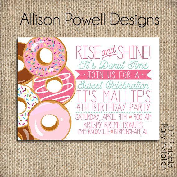Donut, Doughnut, Breakfast, Pajama Birthday Party Invitation - Print your own