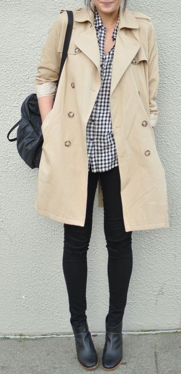 #street #style / trench coat + gingham shirt