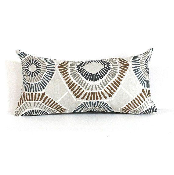 Lumbar Pillow Cover 8x16 Petite Lumbar Grey Blue Brown Geometric