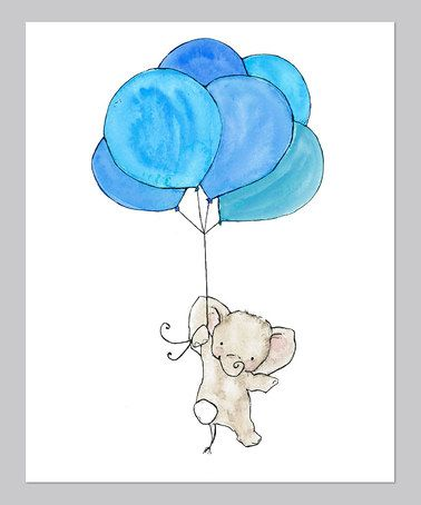 Take a look at this Blue Elephant Balloon Print by trafalgar's square on #zulily today!