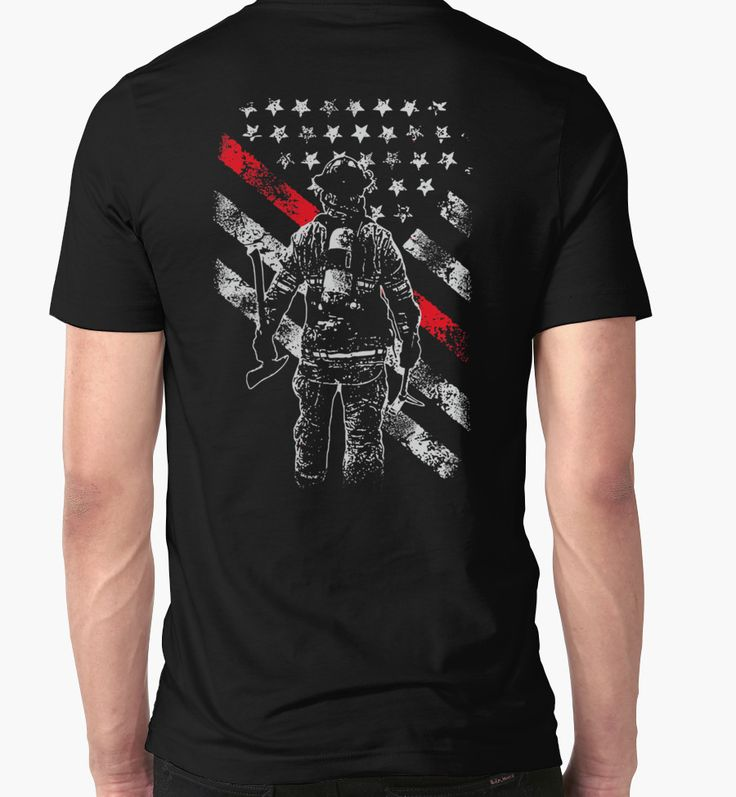 Firefighter Exclusive Thin Red Line by http://www.redbubble.com/people/grastohill/works/23818623-firefighter-exclusive-thin-red-line-american-flag-t-shirt
