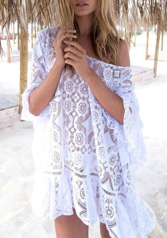 dde57bdbf2 Bohemian White Beach Hollow Out Ruffles Bikini Cover-Up – boholooks