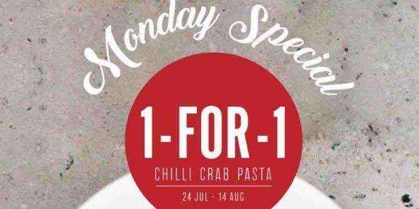 Saveur Singapore Monday Special 1-for-1 Chilli Crab Squid Ink Pasta Promotion 24 Jul - 14 Aug 2017