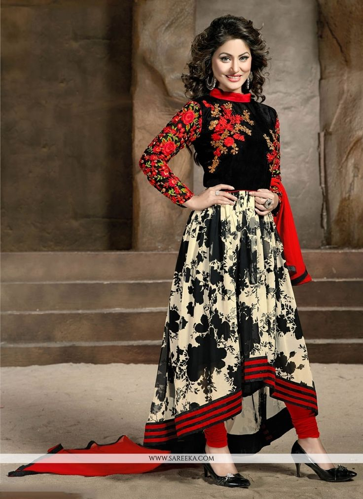 Add the sense of feminine elegance by this red and black georgette designer salwar suit. The embroidered and resham work appears to be like chic and great for party and reception. Comes with matching ...