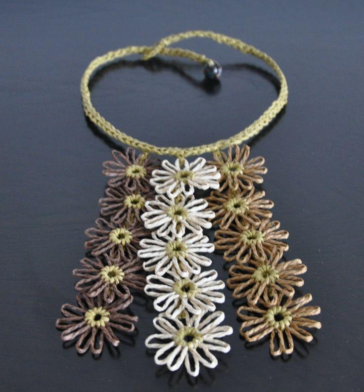 Little Daisy - Chocolate - Handmade Loom Daisy Bib Necklace by jennysunny on Etsy