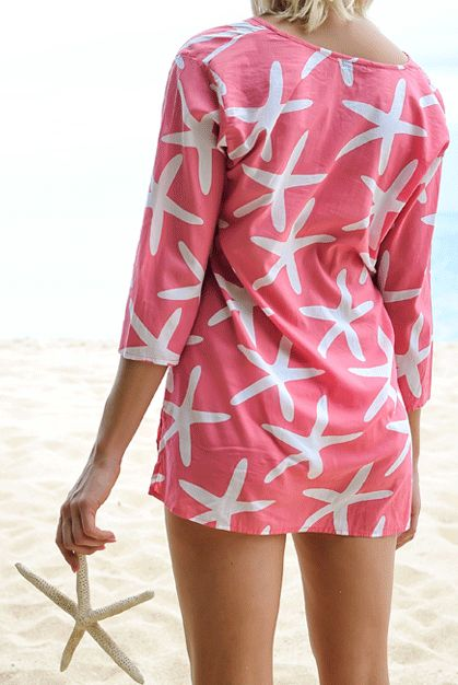 Cute Starfish Cotton Beach Tunic Cover up!