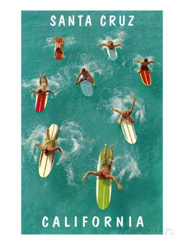 Surfers from Above, Santa Cruz, California Affiches sur AllPosters.fr