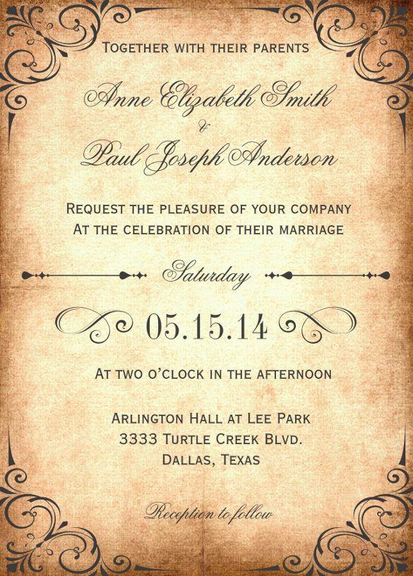 Wedding Invitation Template Vintage Unique 2 In 2020 Free Wedding Invitation Templates Rustic Wedding Invitation Templates Rustic Vintage Wedding Invitations Templates