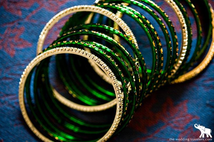 Maharastrian wedding bangles..green color symbolises prosperity, peace and fertility