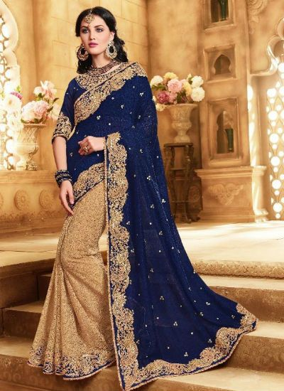 Blue and beige saree