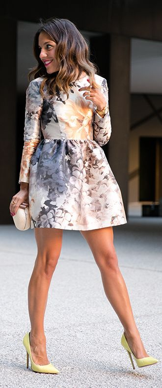Multi Floral Long Sleeve Fit And Flare Mini Dress Spring summer autumn winter