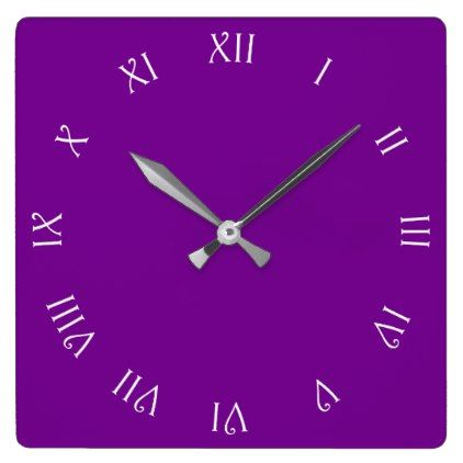 White Script Roman Numbers On Purple Wall Clock - script gifts template templates diy customize personalize special