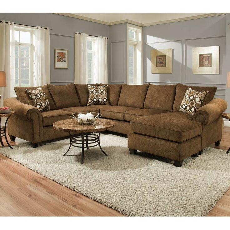 The Declan Cocoa Chenille Sectional comes in rich cocoa brown chenille fabric on a clean transitional design. Features sofa and chaise pieces with spacious seating on thick foam cushions with sinuous sprints for durability and comfort with a supportive and plush feel. Accented by rolled arms.  Declan Cocoa Chenille Sectional   Weekends Only Furniture and Mattress