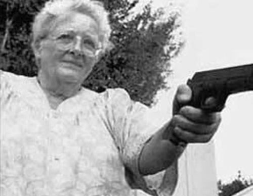 "Gun-toting granny Ava Estelle, 81, was so ticked-off when two thugs raped her 18-year-old granddaughter that she tracked the unsuspecting ex-cons down… And shot off their testicles.    ""The old lady spent a week hunting those men down and, when she found them, she took revenge on them in her own special way,"" said police investigator Evan Delp.    Then she took a taxi to the nearest police station, laid the gun on the sergeant's desk and told him"