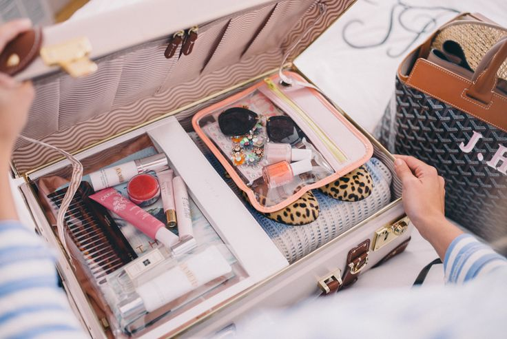 Gal Meets Glam Packing Organization with TRUFFLE Clarity Pouches and Clutches. Luggage by Steamline.