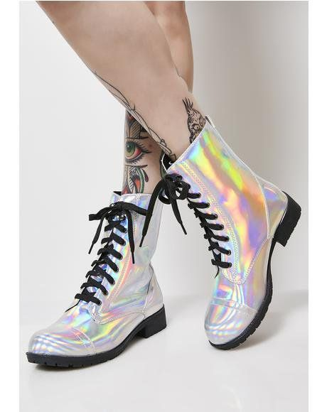 d7b25234839 I Am Ur Leader Hologram Boots  dollskill  suchgreatheights  platforms   combats  newarrivals  shoes