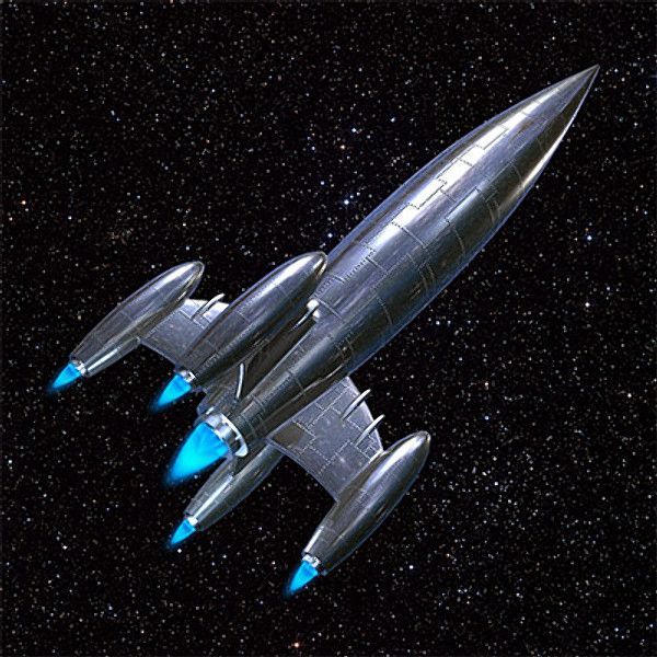 Iconic Silver Rocket Ship by Mandragoras