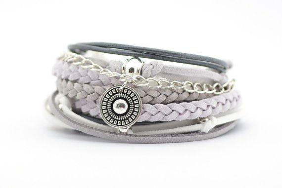 Gray White Bohemian Jewelry Gray White Silver Boho by cardioceras
