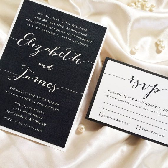 Customized Black & White Wedding Invitation and by PourLeMonde, $2.00