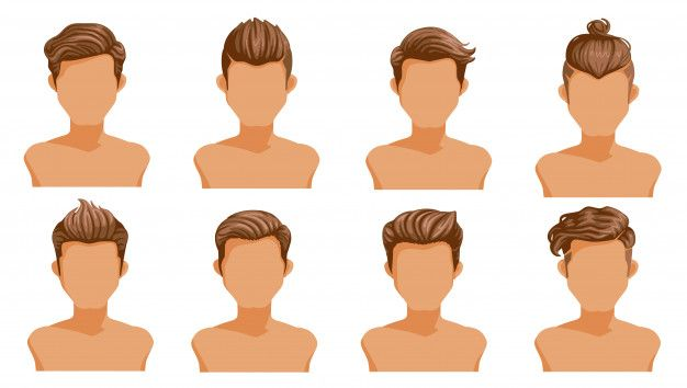 Men Hair Set Of Men Cartoon Hairstyles Collection Of Fashionable Stylish Types En 2020 Dibujos De Hombres Dibujo De Pelo Silueta De Mujer Dibujo