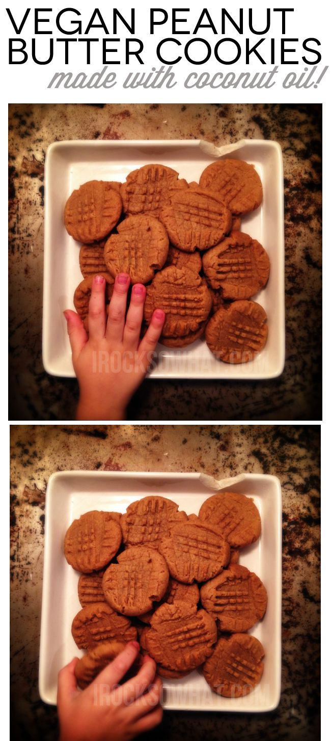 Vegan Peanut Butter Cookies made with Coconut Oil. Gives it a hint of coconut flavor and makes these cookies irresistible.