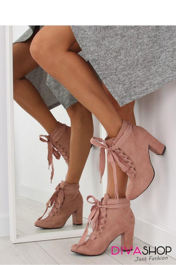 Botine dama roz Inello - botine dama