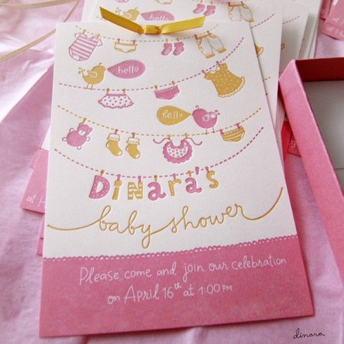 Dinara's Pink + Yellow Hand Lettered Baby Shower Invitations