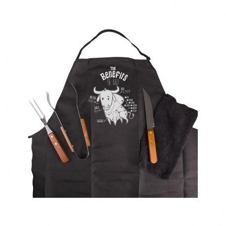 BBQ Kit Benefits  Praktische barbecue kit, ideaal voor degenen die genieten van een goede barbecue in het weekend met de juiste tools en de juiste stijl met het BBQ schort. De BBQ kit bevat 1 mes, vork en 1 greep, allemaal gemaakt van staal met houten handvat.