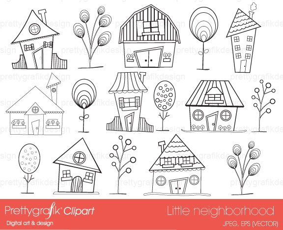 house neighbourhood digital stamp commercial use - PGDSPK397 #prettygrafik