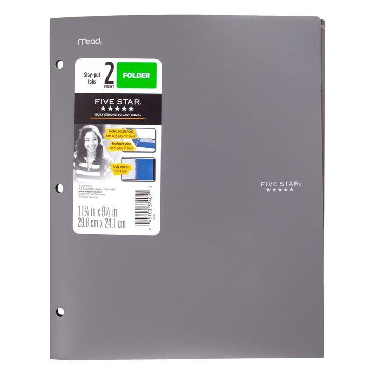 Five Star™ Plastic Folder Reinforced Spine 2 Pocket