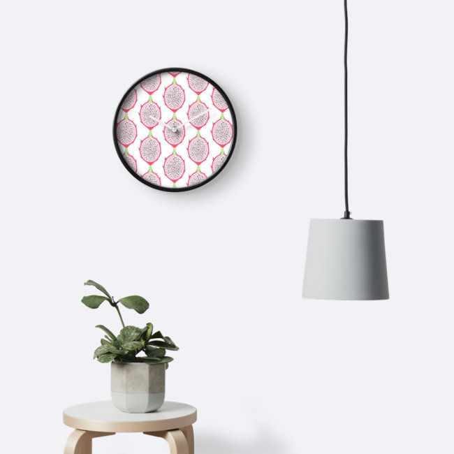 Dragon Fruit Slice Wall Clock by Anastasia Shemetova #pitahaya #pitaya #exotic #tropical #fruit #piece #slice #pink #pattern #faerieshop #redbubble #home #decoration #room #decor