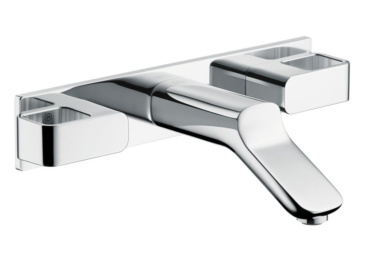 Dbl Handle Axor Urquiola   Axor Urquiola Wall Mounted Widespread Faucet  Trim With Base Plate