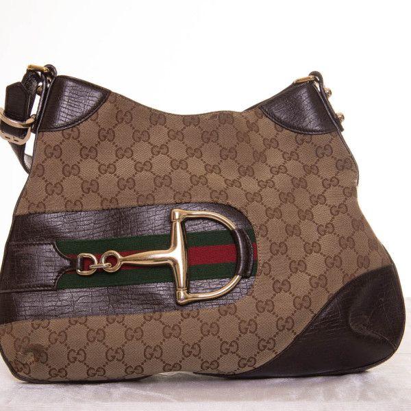 bolso de tela color beige ribeteado en piel con hebilla lateral Gucci - Marketplace MitiendaVIP