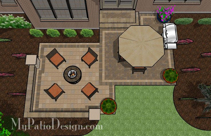 Square Patio, Seat Wall, Fire Pit - Patio Design & Ideas