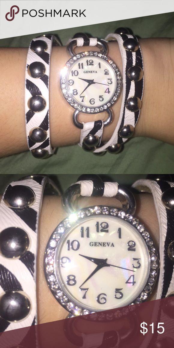 *SALE* Geneva wrap watch. Zebra print Geneva wrap watch. Works good just needs new batteries. Jewelry Bracelets