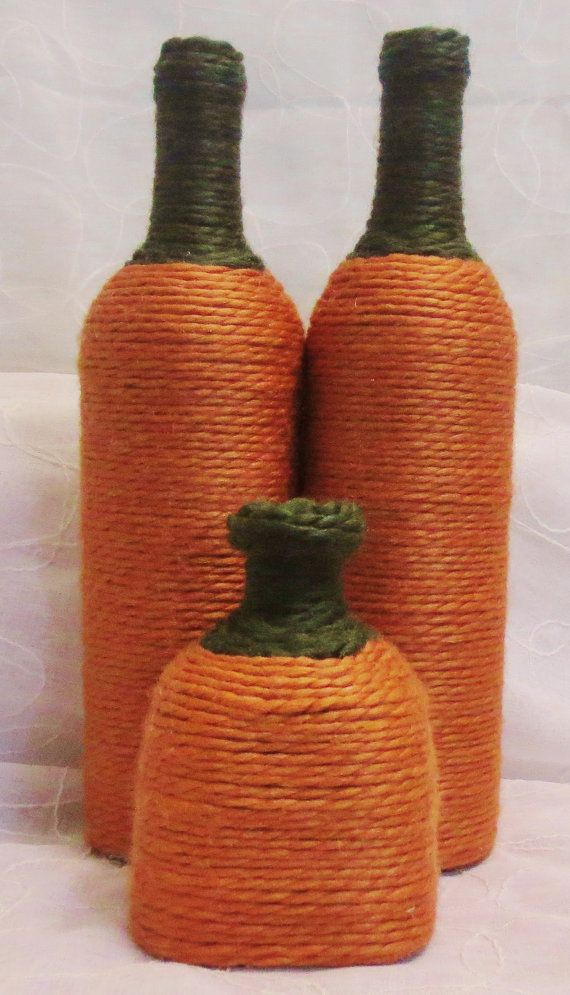 Pumpkin Yarn Wrapped Wine Bottles by OrangeCreek on Etsy