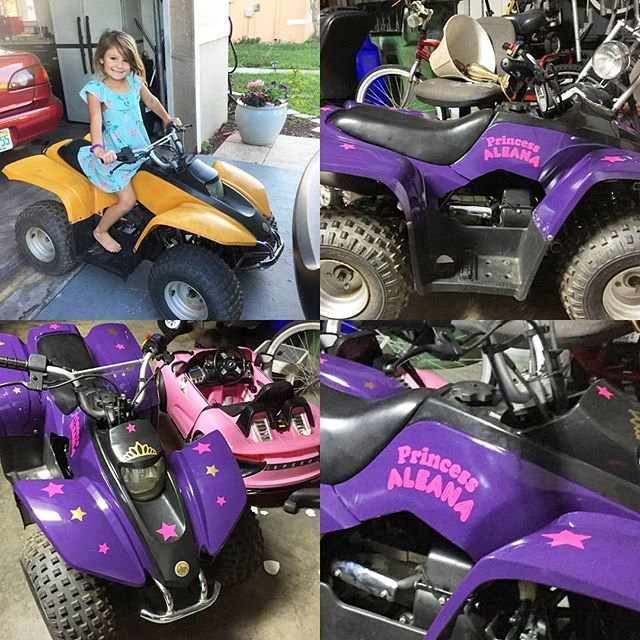 Befor and after paint job and my custom decals added on!! Custom decals for a little girls four wheeler! Just painted purple and customer wanted decals to appy! We can do car decals as well!! #decals #decal #etsy #etsyseller #etsyshop #smallbusiness #business #custom #handmade #customdecal #cardecal #sticker #stickers #bumpersticker #fourwheeler #vinyldecal #carsticker #cars #carwrap #honda #windowdecal #vinyl #personalized