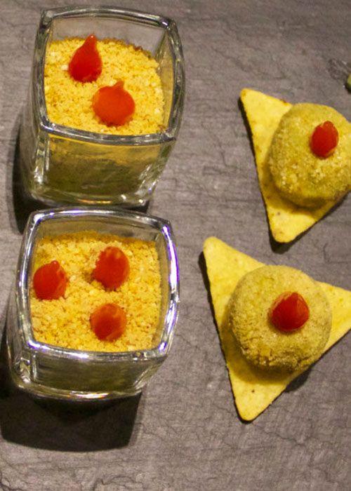 Guacamole revisité façon poicamole avec des gouttes de poivrons tendres et croquantes ! (recette végétarienne pour un apéro sympa !)