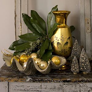 Vintage-Inspired Christmas Decorating | Mix Metallics with Fresh Evergreens | SouthernLiving.com