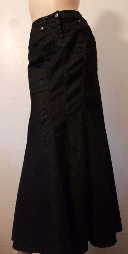 Bisou Bisou Black Mermaid Fit and Flare Skirt Long Stretchy Denim Jean 10 NWOT #BISOUBISOU #FlareSkirt