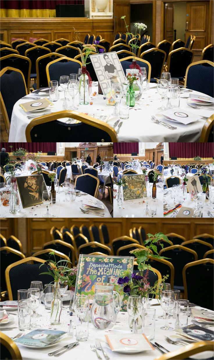 tables decorated for music themed quirky wedding at islington assembly rooms, london, records as table centers