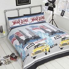 Empire State New York Big Apple Taxis Modern Teenager USA Bedding Duvet Set