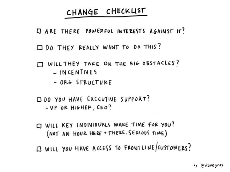 Checklist for change projects