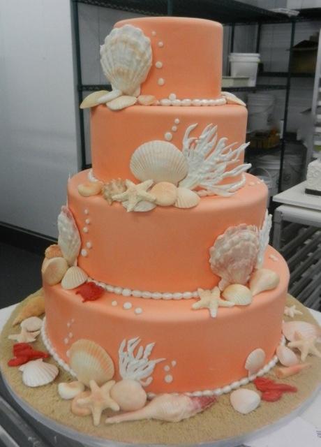 Beach Themed Wedding Cake from @Carlo M M M M's Bakery in Hoboken, NJ #weddingcakes www.sandimentalmemories.com